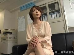 Arousing short-haired Asian model Yukina enjoys threesome