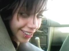 Beautiful avid emo tattoe female bonks the car gearstick in a public place,damn