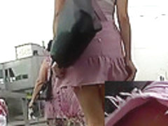 A-Hole in pink panty up the petticoat