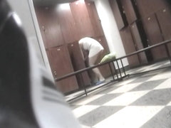 Lewd cameraman spying fem on hidden webcam shower