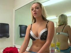Young blonde Kody Kay does handjob in toilet pov