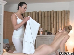 Natural busty blonde has lesbian nuru massage