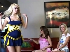 Super hot blonde cheerleader licked
