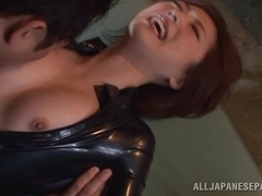 Ai Haneda naughty milf in latex suit is into bondage game