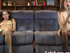 Lelu Twins doublevision mutual masturbating on couch
