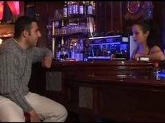 French female waiter fucks a customer in the bathroom