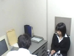 Hot Jap chick strips for her boss in spy cam Asian video