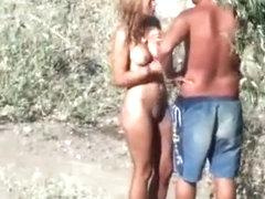 Naked girl is cold and needs a hug