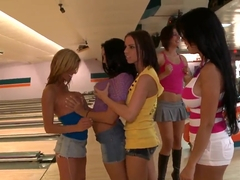 Dirty fuck with hot busty pornstars at the bowling