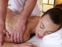 Massage Rooms Sexy French babe Tiffany Doll sucks and fucks studs big cock