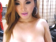 Hot Busty Shemale Masturbates her Huge Cock