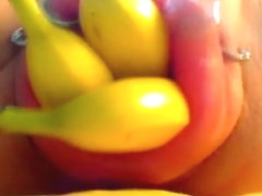 Fruit fetish video with banana in horny tunnel of love