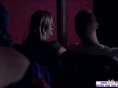 ###y milf jerks Richies pole and sucks it inside the theater