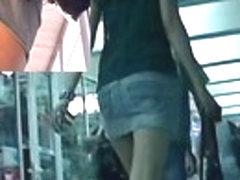 Jeans up petticoat tease from the leggy bimbo