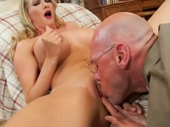 Bold guy in glasses Johnny Sins drilling hot chick