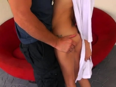 Hot chick gulps down some massive dick