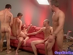 Troy Collins gets a facial at a gay orgy