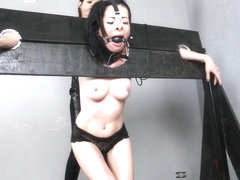 Wooden stock whipping and latina punishment of lesbian