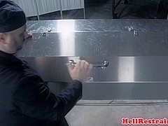Restrained sub punished with bastinado