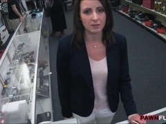 Customers wife let the pawn man fuck her in the backroom