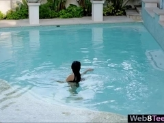 Glamour brunette teen Megan Salinas solo play in jacuzzi