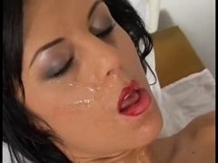 Facialized brunette MILF gets deep cunt drilling action