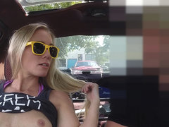 Blonde and sexy woman tries to sell her car instead sells herself