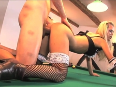 Sucking and fucking on a fine billiards table