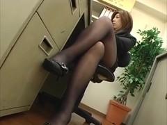 Office Women Footjob In Pantyhose