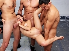 Inviting a sassy girlfriend over for a hardcore group fuck