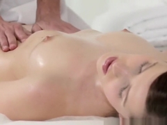 Horny woman with foot fetish wanks masseur's hard cock dry