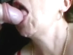 Old lady gets an oral creampie