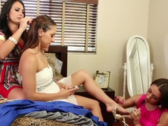 Fabulous pornstars Vicki Chase, Sara Luvv and Holly West in amazing masturbation, big tits sex mov.