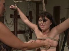 Cruel lesbian fuck lower brunette slut Bijou tied up her young girlfriend Mandy Bright and enjoyin.