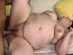 Obese bitch blows his rod and goes ass to mouth and back again
