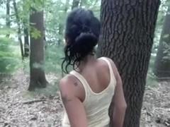 Voracious brunette hair hair wench sucks my BBC in the woods