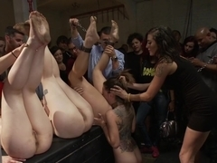 Ass pounding orgy with 4 hot sluts