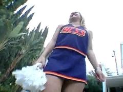 Goldie Cox and swarthy cheerleader