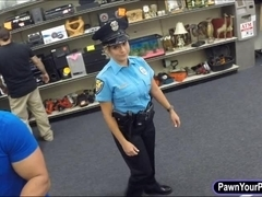 Latin security officer pawns her pussy and got fucked hard