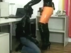 Latex wearing chicks scold their willing serfs