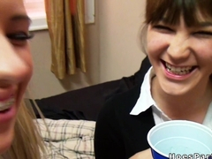 Busty students have dorm room party
