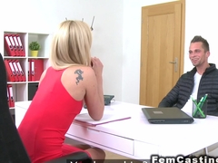 Slim blonde female agent bangs model