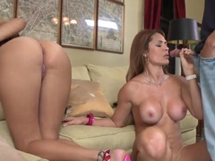 Milfs Jazmyn and Monique Fuentes share cock