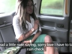 Classy ebony amateur facialized in the taxi