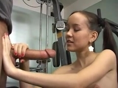 Amai in the Gym - Training on Cock