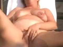 bulky housewife fingering on the veranda