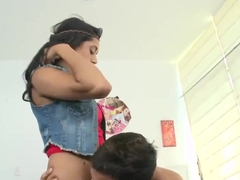 Indian beautiful babe Daria fucks with handsome American guy Voodoo