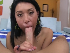 Deep throating Asian style