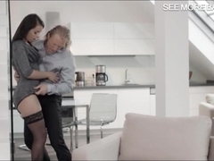 Glamour honey Ferrera Gomez pussy railed on the couch