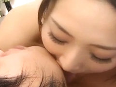 Risa Murakami cleans cock and licks man soles before fu